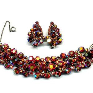 Juliana Ruby Rhinestone Bracelet Earrings